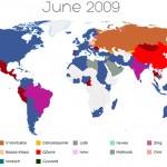 Secuencia de mapas que demuestran el dominio de Facebook en el mundo como la más importante red social