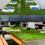Ideas de negocios verdes, una mesa de grass para desarrollar almuerzos de negocios rodeados de la naturaleza